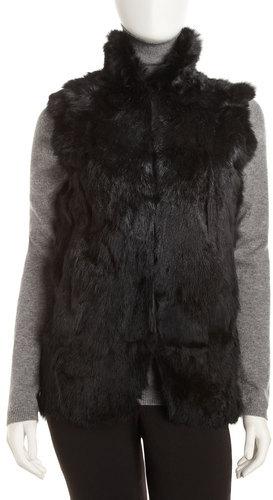 Adrienne Landau Textured Rabbit Vest, Black