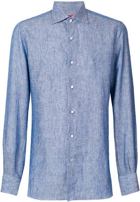 Isaia spotted long-sleeved shirt