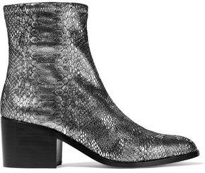 Opening Ceremony Livv Metallic Snake-Effect Stretch-Leather Ankle Boots