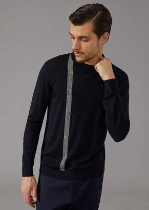Giorgio Armani Jumper In Virgin Wool And Cashmere With Chevron Detail
