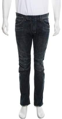 Balmain Distressed Moto Jeans