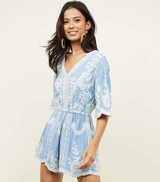 New Look Pale Blue Floral Crochet Embroidered Playsuit