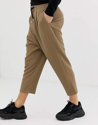 Asos Design DESIGN drop crotch tapered crop smart pants in camel with drawcord