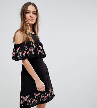 Miss Selfridge Petite Black Floral Cold Shoulder Dress