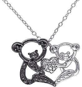 Black Diamond QVC Accent Koala Bear Pendant w/ Chain, Sterling