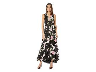 Tahari ASL Printed Clipped Chiffon Floral Gown