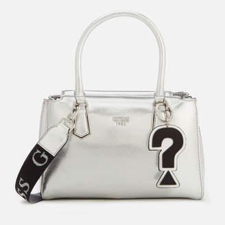 At Thehut Guess Women S Felix Silver Tote Bag