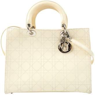 Christian Dior Vintage Lady Ecru Patent leather Handbag