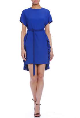N°21 (ヌメロ ヴェントゥーノ) - N 21 シルク混 プリーツフリルトリム ベルテッド 半袖ドレス ブルー 38