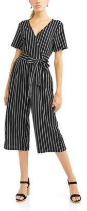 Wrapper Women's Vertical Stripe Gaucho Jumpsuit