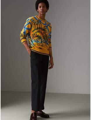 Burberry Graffiti Scribble Intarsia Cashmere Sweater , Size: XXL, Yellow