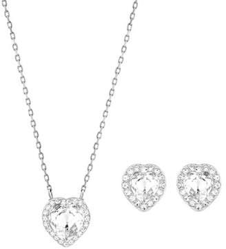 Swarovski crystal pendant necklace shopstyle swarovski cyndi crystal heart pendant necklace earrings set mozeypictures Choice Image