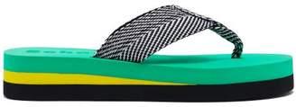 Proenza Schouler Geometric Woven Flip Flops - Womens - Green