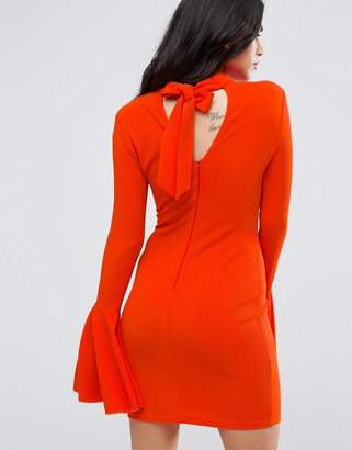 AX Paris Flute Sleeve Midi Dress With Open Back