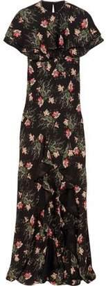 Vilshenko Bella Cape-Effect Printed Silk-Georgette Maxi Dress