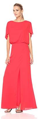 Halston Women's Flowy Short Sleeve Wide Boatneck Gown with Slit