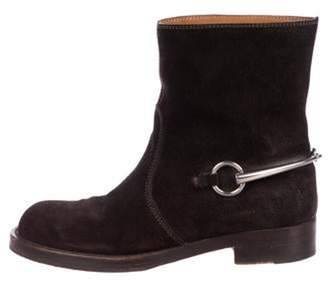 Gucci Suede Round-Toe Ankle Boots Brown Suede Round-Toe Ankle Boots