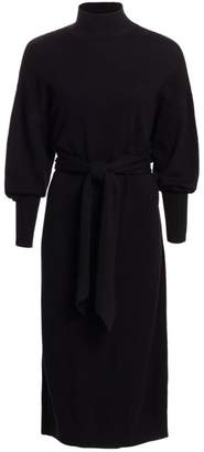 Zimmermann Eye Spy Tie-Waist Merino Wool & Cashmere Tie Knit Midi Dress