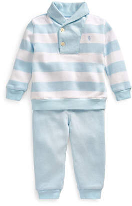 Ralph Lauren Childrenswear French Rib Rugby Shawl Collar Sweater w/ Joggers, Size 6-24 Months