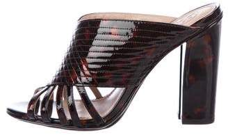 Tory Burch Patent Leather Peep-Toe Mules