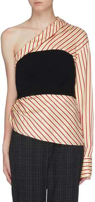 Hellessy 'Paloma' contrast bustier panel stripe one-shoulder top
