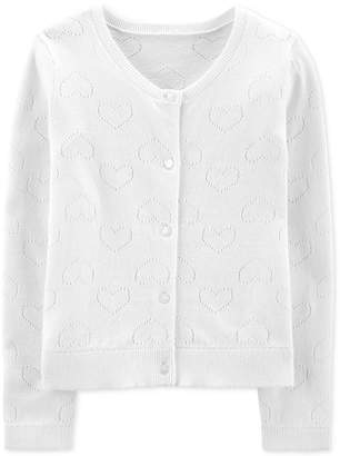 d659d9b8504 Carter s Carter Big   Little Girls Cotton Heart Cardigan