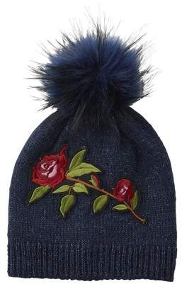 Tickled Pink Embellished Rose Beanie, One Size Fits Most, Beanie: 100% Acrylic; Pom-Pom: 100% Polyester, Multiple Colors