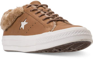 Converse One Star Ox Faux Fur Casual Sneakers from Finish Line
