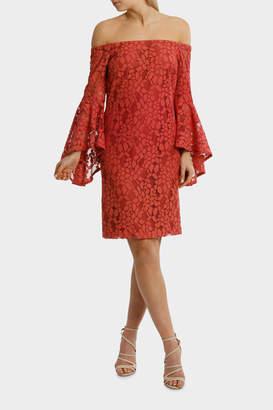 Copper Rose Off Shoulder Lace Dress