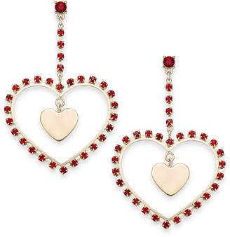 Thalia Sodi Gold-Tone Stone Heart Orbital Drop Earrings