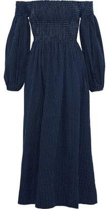 The Great The Carnival Off-The-Shoulder Swiss-Dot Cotton-Poplin Dress