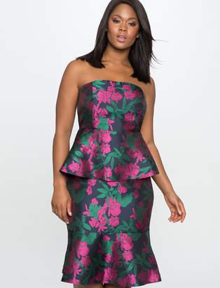 ELOQUII Strapless Double Peplum Dress
