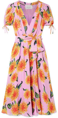 Carolina Herrera Floral-print Silk Crepe De Chine Wrap Midi Dress - Baby pink