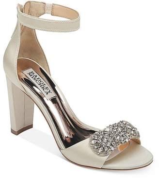 Badgley Mischka Women's Edaline Crystal-Embellished Block Heel Sandals