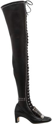 60mm Metal Plaque Studded Leather Boots