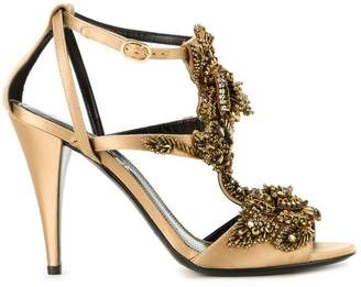 Alberta Ferretti beaded strappy sandals