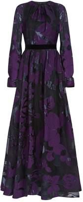 Talbot Runhof Floral Jacquard Sheer Gown