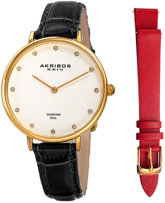 Akribos XXIV Women's Diamond Leather Watch