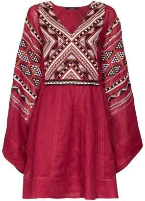 Vita Kin V-neck embroidered linen mini dress