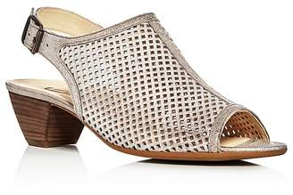 Paul Green Lois Metallic Perforated Slingback Sandals $299 thestylecure.com