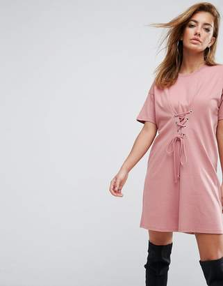 Asos Cinched In Lace Up Waist T-Shirt Dress