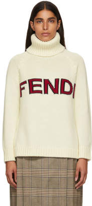 Fendi White Wool Logo Turtleneck
