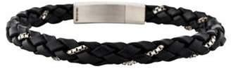 Tateossian Leather Chain Wrap Bracelet Black Leather Chain Wrap Bracelet