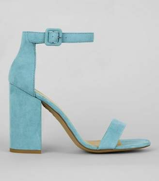 New Look Pale Blue Suedette Barely There Block Heels