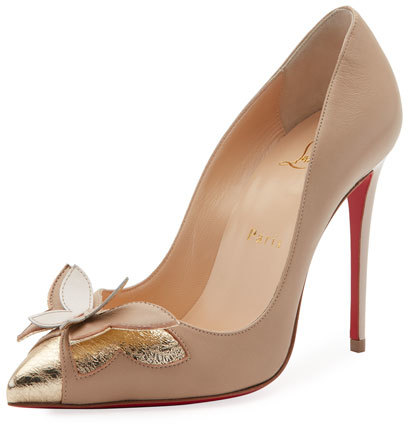 Christian Louboutin  Christian Louboutin Maripop Butterfly Red Sole Pump, Nude