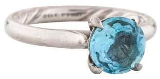 David Yurman Platinum Aquamarine DY Eden Solitaire Ring