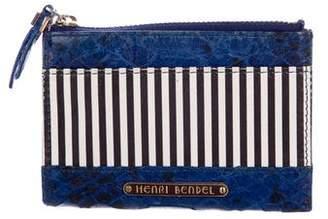 Henri Bendel Embossed Leather Striped Wallet