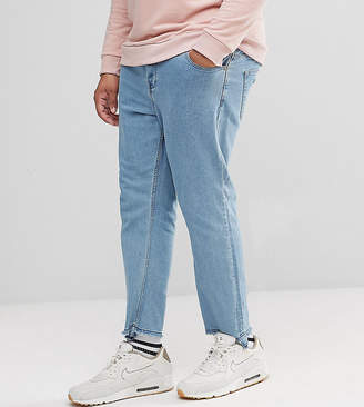 ONLY & SONS PLUS Tapered Jeans With Raw Hem In Stretch