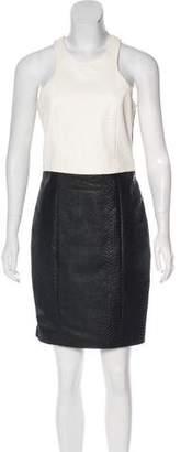 Mason Leather-Paneled Knee-Length Dress