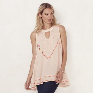 Women's LC Lauren Conrad Embroidered Keyhole Tunic $48 thestylecure.com
